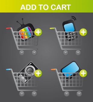 Business elements over carts over gray background vector