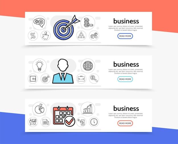 Bandiere orizzontali di elementi di affari