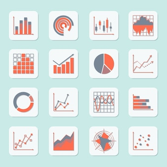 Business elements progress growth trends charts diagrams and graphs icons set isolated