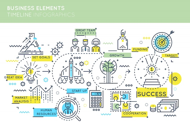 Business elements timeline infographics
