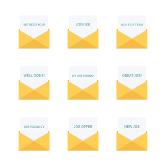 Business email. business letters collection. business message.
