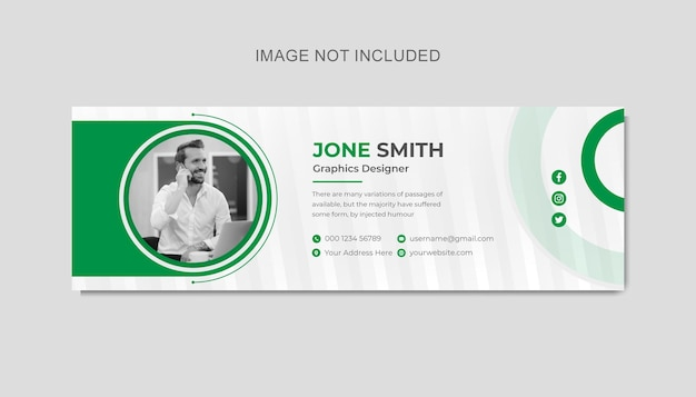 Business email signature template design or footer square templates