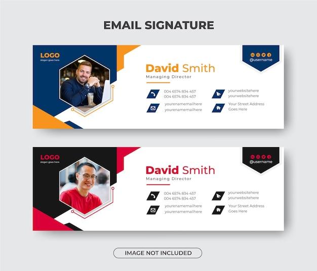 Дизайн шаблона подписи делового электронного письма или нижний колонтитул электронного письма и обложка личного баннера в социальных сетях
