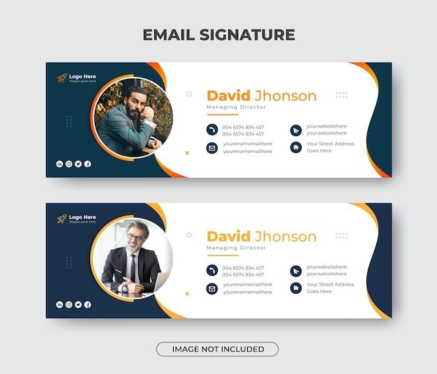 Дизайн шаблона подписи делового электронного письма или нижний колонтитул электронного письма и обложка в личных социальных сетях