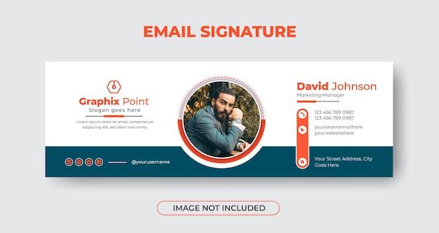 Дизайн шаблона подписи бизнес-письма или нижний колонтитул электронного письма с геометрическими фигурами premium векторы