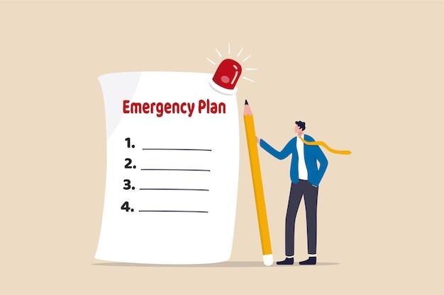 ビジネス緊急計画、災害発生時に行うチェックリストの概念。