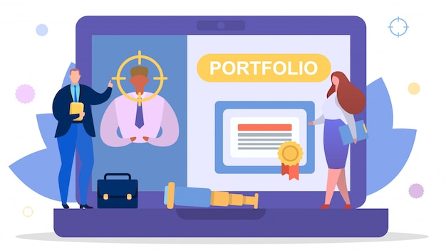 仕事の概念、イラストのビジネス従業員検索。人の男のキャラクターのポートフォリオと仕事の雇用のための履歴書。