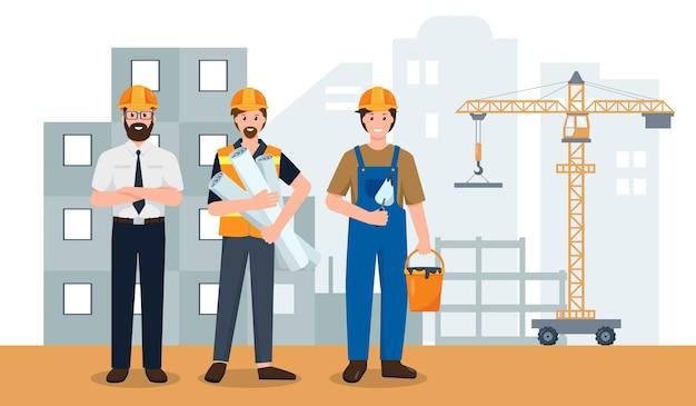 건설 현장의 비즈니스 엔지니어 빌더 또는 건설 작업자 팀