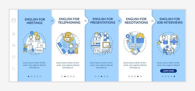 ビジネス英語はオンボーディングテンプレートを目指しています。プレゼンテーション、就職の面接のための外国語。アイコン付きのレスポンシブモバイルウェブサイト。 webページのウォークスルーステップ画面。 rgbカラーコンセプト