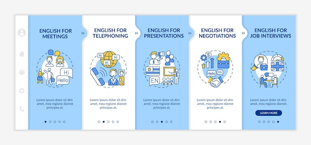 Business english aims onboarding  template. foreign language for presentations, job interviews. responsive mobile website with icons. webpage walkthrough step screens. rgb color concept