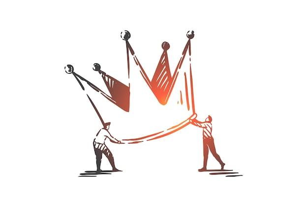 비즈니스 향상 및 개선 개념 스케치 그림