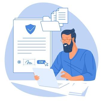 ビジネス電子署名テクノロジー Premiumベクター