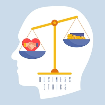 Business ethics concept illustration with balance