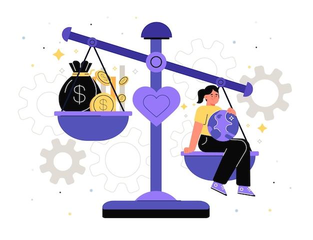 Иллюстрация концепции деловой этики Premium векторы