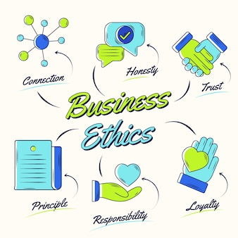 Business ethics green and blue hand drawn
