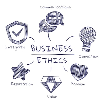 Business ethics grey hand drawn