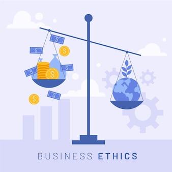Business ethics money and earth on scale