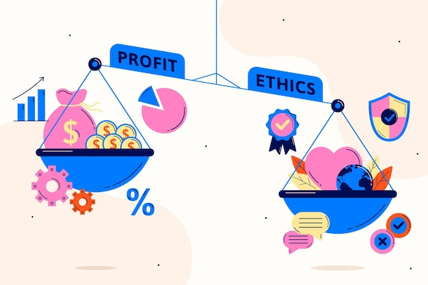 Business ethics profit and ethics on scale