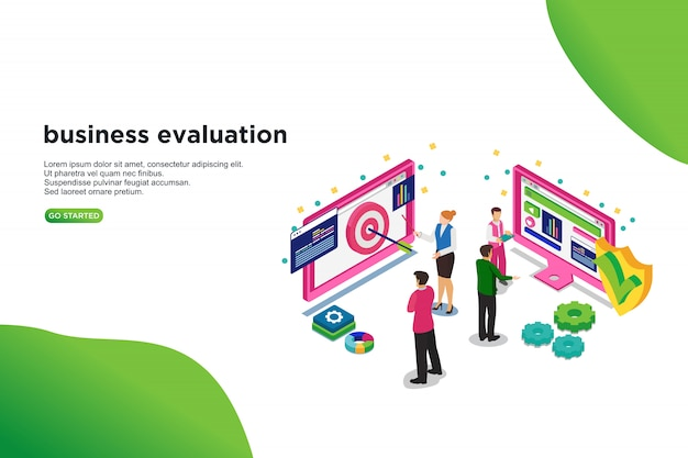Business evaluation isometric vector illustration concept