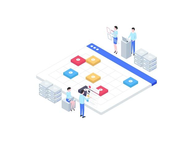 ビジネスイベントのスケジュール等角図。モバイルアプリ、ウェブサイト、バナー、図、インフォグラフィック、その他のグラフィックアセットに適しています。