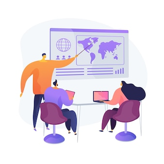 Pianificazione della strategia di espansione aziendale. briefing del ceo, riunione dei partner, consiglio di amministrazione. opportunità di globalizzazione. uomini d'affari e imprenditrice.