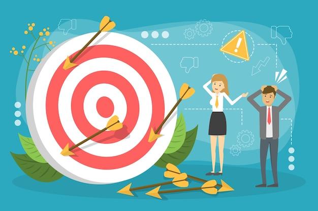 Бизнес-концепция сбой. люди, стоящие у большой цели