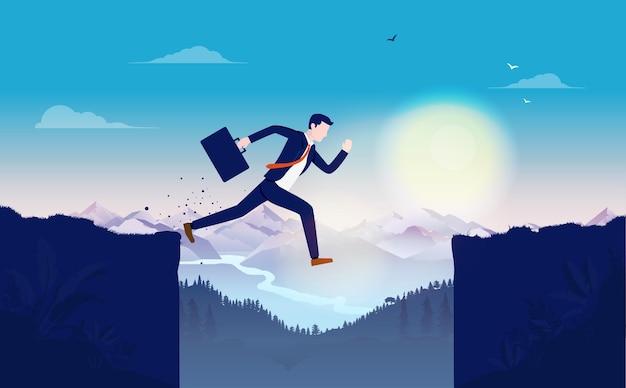 Бизнес-концепция провала с бизнесменом, не сумевшим перепрыгнуть через утес