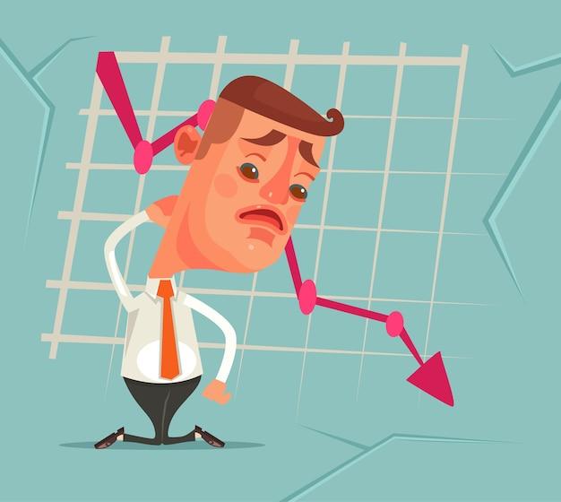 Бизнес-неудача график вниз грустный несчастный офисный работник плоский мультфильм иллюстрация