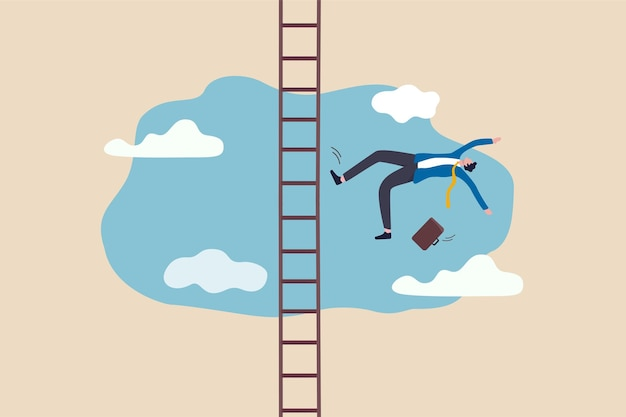 Business failure and accident fall from ladder of success illustration