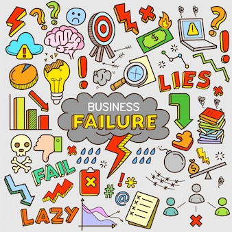 Business failure cartoon color doodle illustration