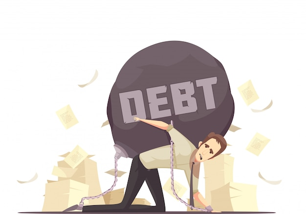 Business failure debt cartoon icon