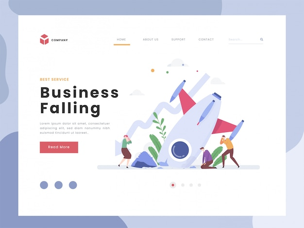 Business falling landing page template