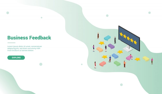 Business feedback template with star ratings with modern isometric style for website landing homepage template -