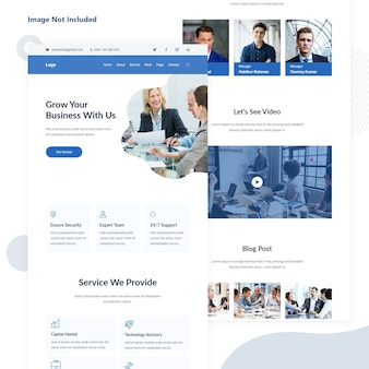 Business and finance agency email landing page
