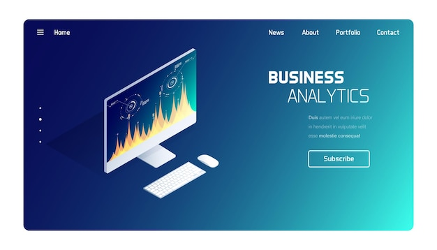 Business and finance analytics system landing page