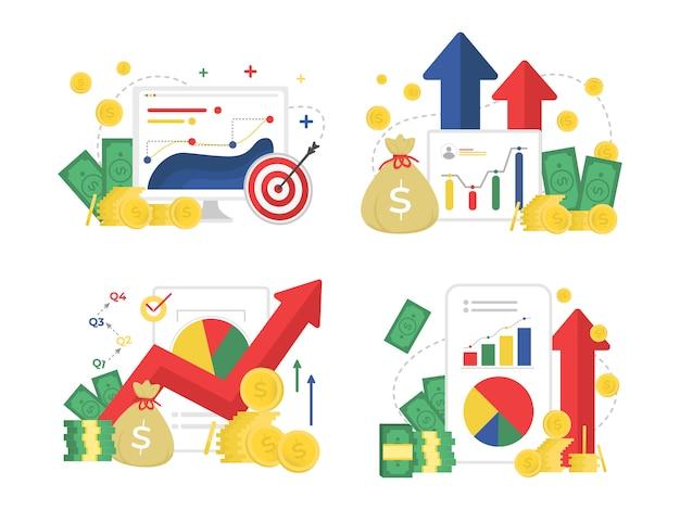 ビジネスファイナンスとマーケティング改善セットフラットデザイン
