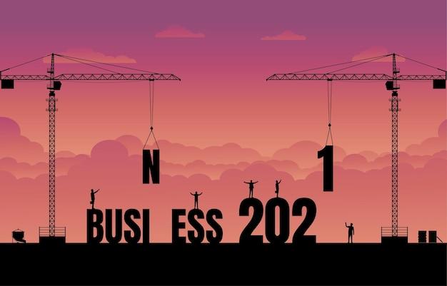 비즈니스 금융 배경입니다. 비즈니스 텍스트 아이디어 개념을 구축하는 건설 사이트 크레인. 2021 년 새해 사업.