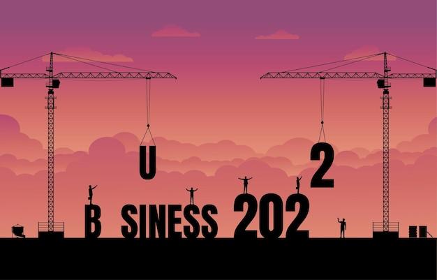 ビジネスファイナンスの背景。ビジネステキストのアイデアの概念を構築する建設現場のクレーン。 2022年の新年のビジネス。ベクトルシルエットイラストデザイン