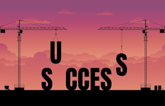 Business finance background. construction site crane building a business text idea concept. business the success. vector silhouette illustration design