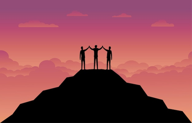ビジネスファイナンスの背景。山の上のビジネスマンチームのシルエット。リーダーシップの概念。ビジネスの成功。ベクトルシルエットイラストデザイン