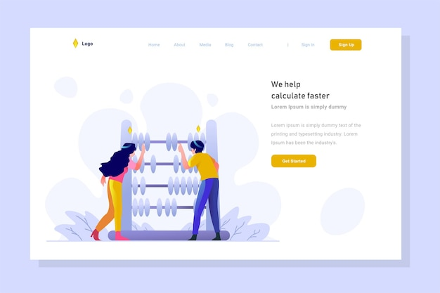 Business and finance calculating analysis with abacus character flat design