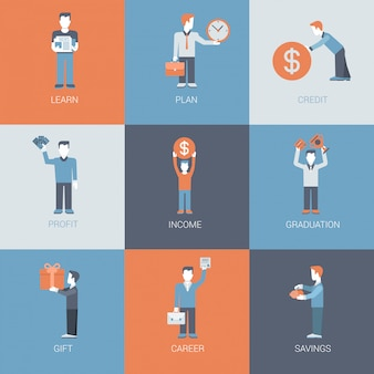 Business, finance, career, income, profit people figures with object situations icons set.