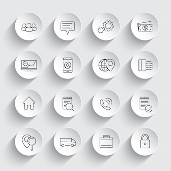 Business, finance, commerce, enterprise line icons on round 3d shapes, business pictograms,
