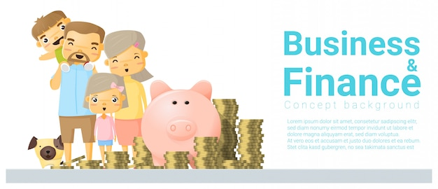Business and finance concept banner with family saving money