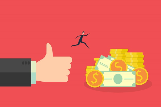 Business finance concept, big hand like and giving a money to the rejoicing people illustration