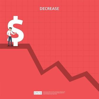 비즈니스 금융 위기 개념입니다. 돈이 기호 아래로 떨어집니다. 화살표 감소 경제 스트레칭 상승 드롭입니다. 손실 위기 파산 감소. 비용 절감. 소득 손실. 벡터 일러스트 레이 션.