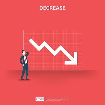 ビジネス金融危機の概念。お金が落ちるシンボル。