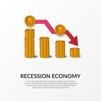 Business finance crisis. global economy recession. inflation and bankrupt. illustration of 3d golden money chart and red bearish arrow