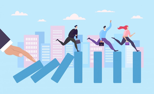 Business finance crisis, hold push domino effect business people running   illustration. concept industry company banner.