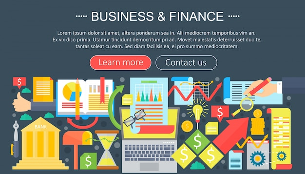 Business and finance flat icons concept